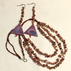 """""""Chocolate Candy"""" Artisan Necklace & Earrings set"""